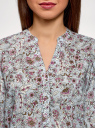 Блузка вискозная прямого силуэта oodji #SECTION_NAME# (синий), 21400394-1B/24681/7041F - вид 4