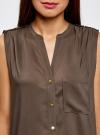 Блузка без рукавов с металлическими кнопками oodji #SECTION_NAME# (коричневый), 21412131/35251/3700N - вид 4