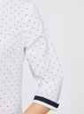 Рубашка хлопковая с рукавом 3/4 oodji #SECTION_NAME# (белый), 11403201-2/26357/1079D - вид 5