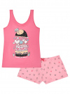 Пижама с шортами и принтом oodji #SECTION_NAME# (розовый), 56002152-21/46158/4D41P