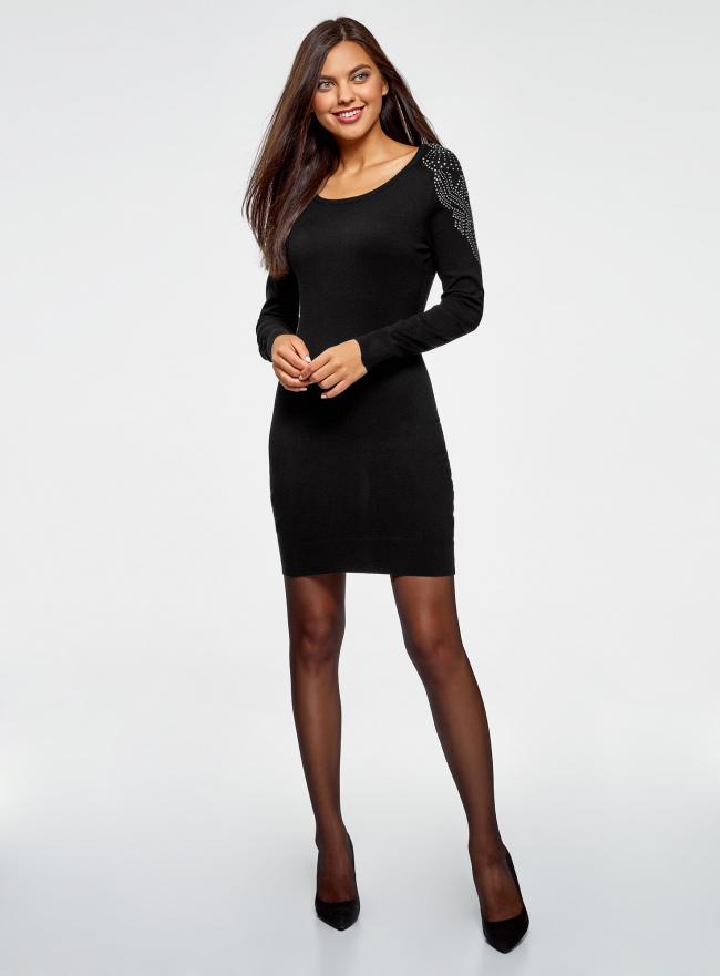 Платье со стразами на плечах oodji для женщины (черный), 63912083-3/42255/2900X