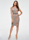 Платье трикотажное с ремнем oodji #SECTION_NAME# (разноцветный), 24008033-2/16300/4312E - вид 2