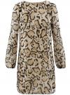 Платье из шифона с ремнем oodji для женщины (бежевый), 11900150-5/13632/3329A