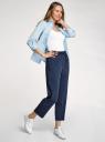 Рубашка с нагрудным карманом и рукавом 3/4 oodji для женщины (синий), 13K01005B/42083/7500N