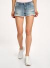 Шорты джинсовые с потертостями oodji #SECTION_NAME# (синий), 12807075-1/42559/7000W - вид 2