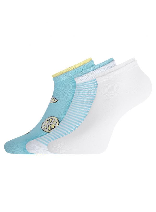 Комплект носков с двойной резинкой (3 пары) oodji для женщины (разноцветный), 57102703T3/47469/34