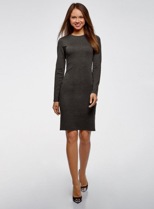Платье трикотажное с длинным рукавом oodji #SECTION_NAME# (серый), 14011027/38261/2500M