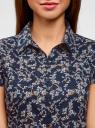 Блузка принтованная из легкой ткани oodji для женщины (синий), 21407022-7M/12836/2919F