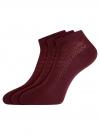 Комплект ажурных носков (3 пары) oodji для женщины (красный), 57102702T3/48022/7 - вид 2