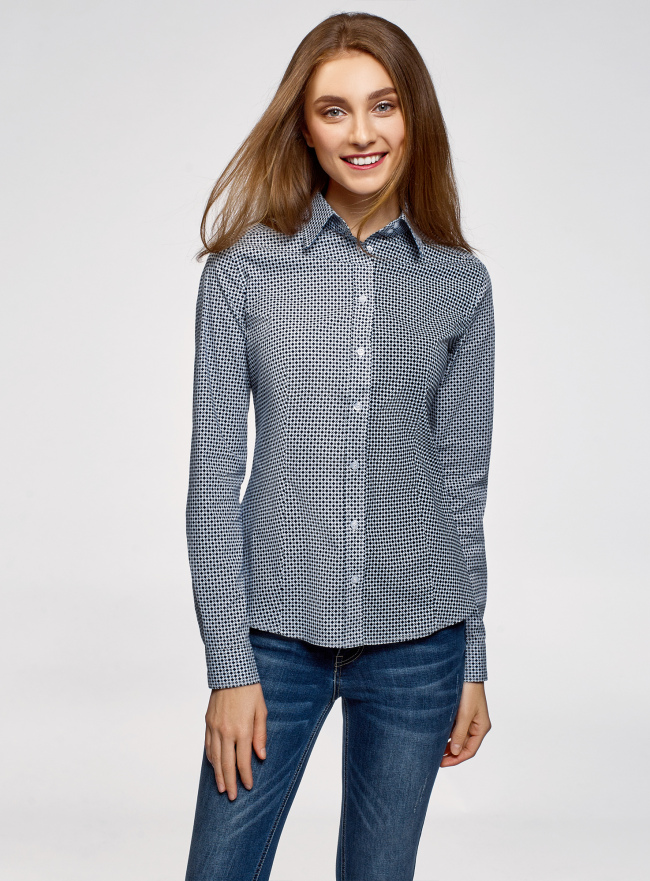 Рубашка хлопковая приталенного силуэта oodji для женщины (синий), 23K02001/48461/1075G