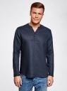 Рубашка льняная без воротника oodji #SECTION_NAME# (синий), 3B320002M/21155N/7900N - вид 2