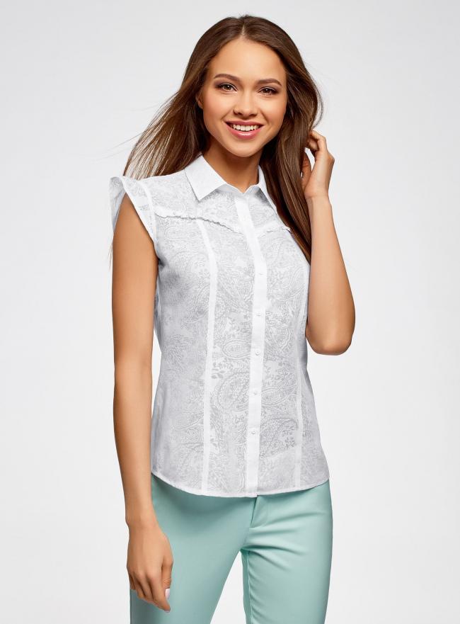 Блузка из ткани деворе oodji #SECTION_NAME# (белый), 11405092-5/26206/1000N