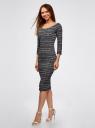 Платье облегающее с вырезом-лодочкой oodji #SECTION_NAME# (черный), 14017001-5B/46944/2912N - вид 6