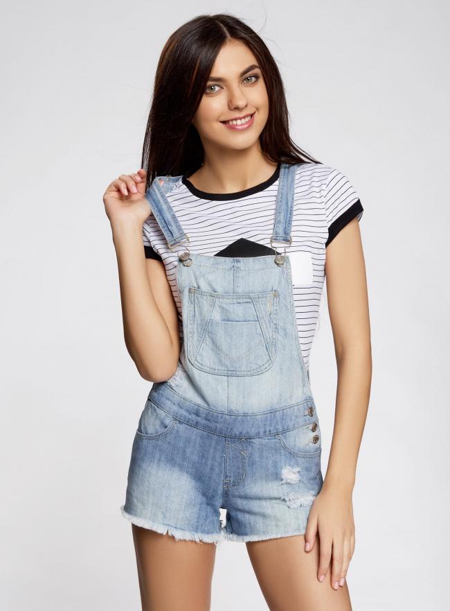 Комбинезон джинсовый с модными потертостями oodji для женщины (синий), 13109058/42559/7000W