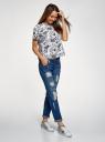 Блузка хлопковая свободного силуэта oodji для женщины (белый), 13K01008/13175N/1079O