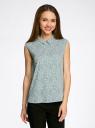 Блузка базовая без рукавов с воротником oodji #SECTION_NAME# (зеленый), 11411084B/43414/6210F - вид 2