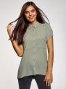 Блузка из вискозы с нагрудными карманами oodji #SECTION_NAME# (зеленый), 11400391-5B/48756/6000N - вид 2