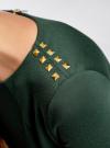 Платье с металлическим декором на плечах oodji для женщины (зеленый), 14001105-2/18610/6E00N - вид 5