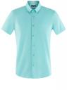 Рубашка базовая с коротким рукавом oodji #SECTION_NAME# (бирюзовый), 3B240000M/34146N/7301N