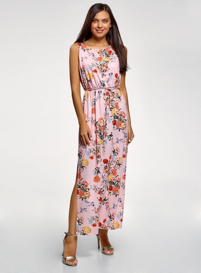 Платье макси с завязками на талии oodji #SECTION_NAME# (розовый), 24005137-1/46943/4019F
