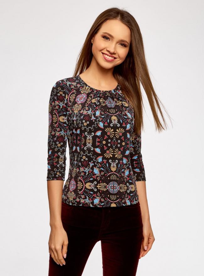 Блузка принтованная с рукавом 3/4 oodji для женщины (разноцветный), 24201012/26256/2955E