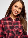 Рубашка свободного силуэта с надписью на спине oodji для женщины (красный), 11411139/46398/4529C