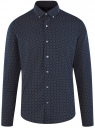 Рубашка приталенная в мелкую графику oodji #SECTION_NAME# (синий), 3L310088M/39749N/7935G