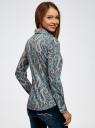 Рубашка приталенная принтованная oodji #SECTION_NAME# (бирюзовый), 21402212/14885/7355E - вид 3