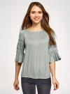 Блузка трикотажная с вышивкой на рукавах oodji #SECTION_NAME# (зеленый), 14207003/45201/6000N - вид 2