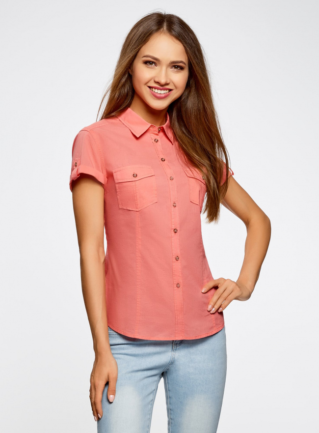 Рубашка базовая с коротким рукавом oodji #SECTION_NAME# (розовый), 11402084-5B/45510/4300N