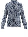 Блузка принтованная из шифона oodji #SECTION_NAME# (синий), 11400394-5/36215/7912E