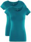 Комплект приталенных футболок (2 штуки) oodji #SECTION_NAME# (зеленый), 14701005T2/46147/6C00N