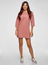 Платье прямого силуэта со спущенной проймой oodji #SECTION_NAME# (розовый), 14008028/48940/4B00N - вид 2