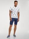 Рубашка принтованная с коротким рукавом oodji #SECTION_NAME# (белый), 3L400004M/48205N/1075G - вид 6