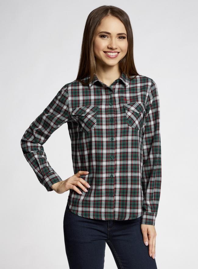 Рубашка в клетку с карманами oodji для женщины (зеленый), 11400433-1/43223/6E12C