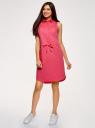 Платье хлопковое на кулиске oodji #SECTION_NAME# (розовый), 11901147-5B/42468/4D00N - вид 6