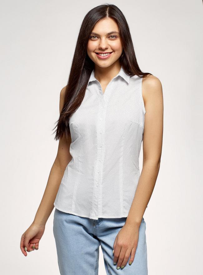Рубашка без рукавов oodji для женщины (белый), 14905001-2B/12836/1029D