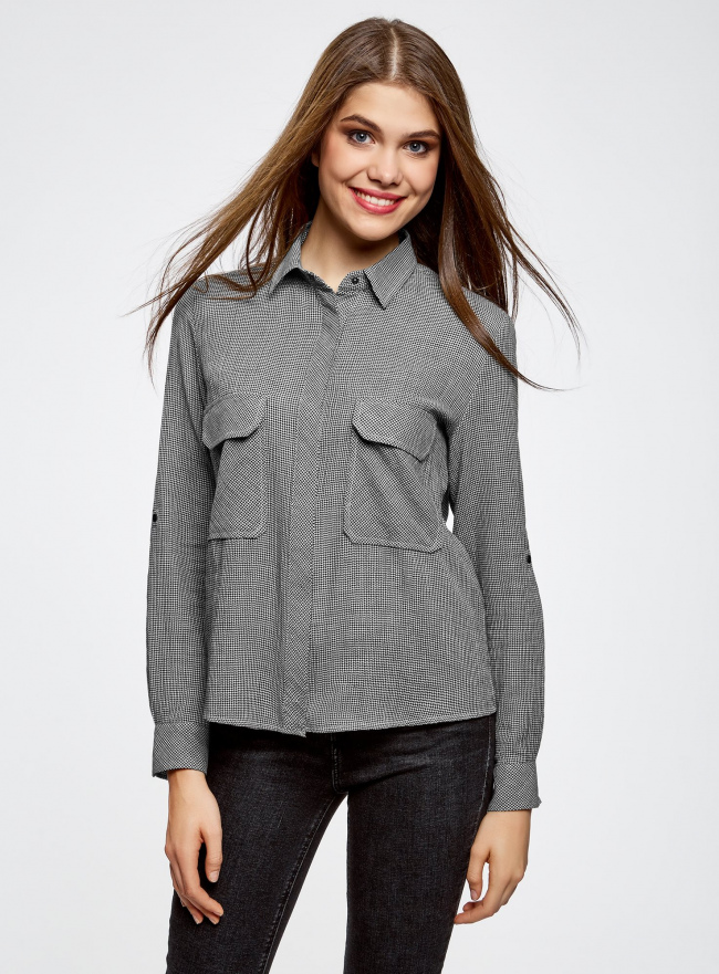 Рубашка в мелкую графику с карманами oodji #SECTION_NAME# (серый), 21441095/43671/2912G