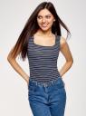 Топ из эластичной ткани на широких бретелях oodji для женщины (синий), 24315002-1B/45297/7912S