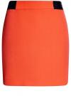Юбка короткая с отделкой из искусственной кожи oodji #SECTION_NAME# (оранжевый), 11601179-10/46415/5500N