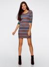 Платье жаккардовое с геометрическим узором oodji для женщины (разноцветный), 14001064-5/46025/7649G - вид 2