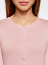 Жакет вязаный на пуговицах oodji для женщины (розовый), 73212401-1B/45904/4000N
