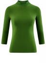 Водолазка хлопковая с рукавом 3/4 oodji #SECTION_NAME# (зеленый), 15E11007B/46147/6900N