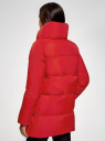 Куртка стеганая с объемным воротником oodji #SECTION_NAME# (красный), 10200079/32754/4500N - вид 3