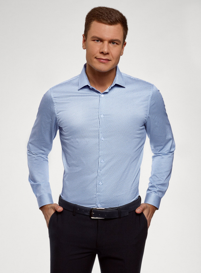Рубашка приталенная из хлопка oodji #SECTION_NAME# (синий), 3L110359M/49043N/7410G