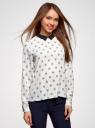 Блузка прямого силуэта с отложным воротником oodji #SECTION_NAME# (белый), 11411181/43414/3029U - вид 2