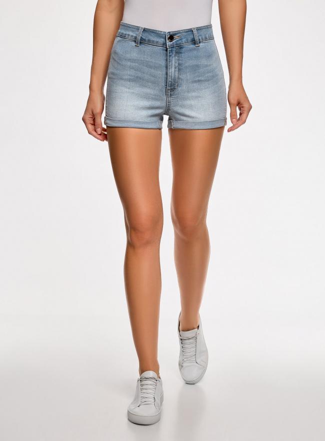 Шорты джинсовые базовые с высокой посадкой oodji для женщины (синий), 12807076-1B/45877/7000W