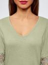 Блузка трикотажная с кружевными вставками на рукавах oodji #SECTION_NAME# (зеленый), 11308096/43222/6000N - вид 4