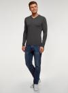 Пуловер базовый с V-образным вырезом oodji для мужчины (серый), 4B212007M-1/34390N/2500M - вид 6