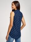 Топ вискозный с нагрудным карманом oodji для женщины (синий), 11411108B/26346/7912Q - вид 3